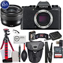 Fujifilm X-T100 Mirrorless Digital Camera w/15-45mm Lens (Black) + K&M Photo Bundle