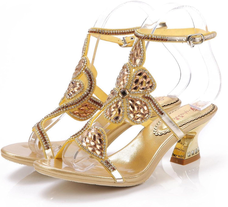 Monie Women's Sexy Low Heel Handmade Wedding Dress Sandals Glitter Crystal Strappy shoes