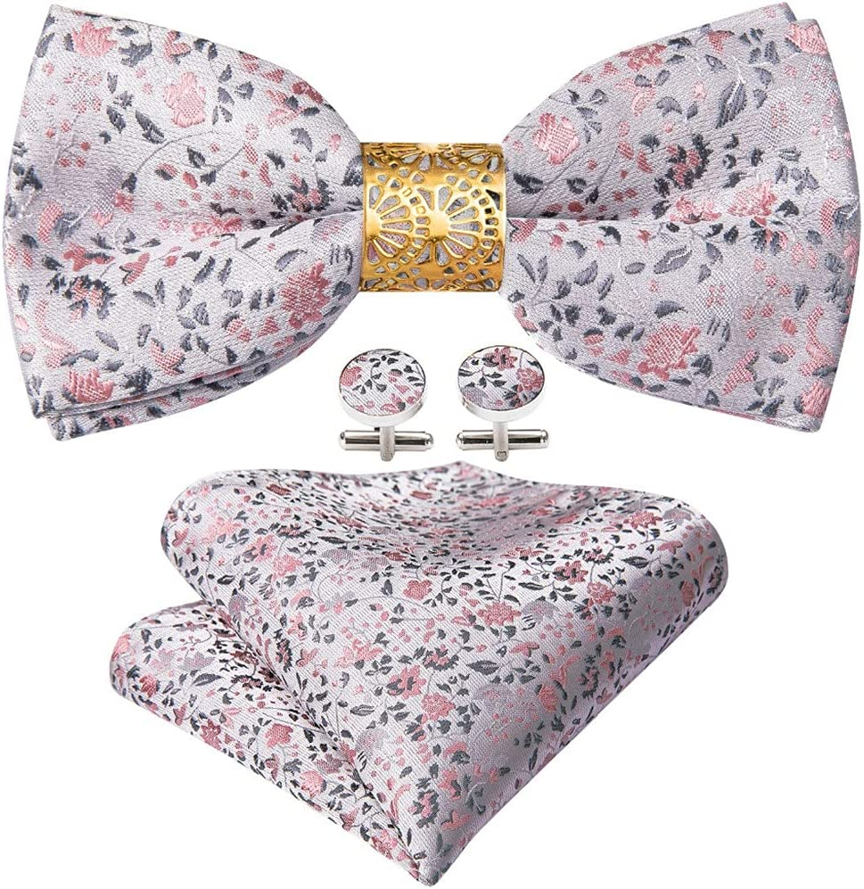 LQGSYT Silk Pre-Bow Tie for Men Wedding Accessorie Adjustable Butterfly Handky Removable Gold Ring Set (Color : Pink, Size : One Size)
