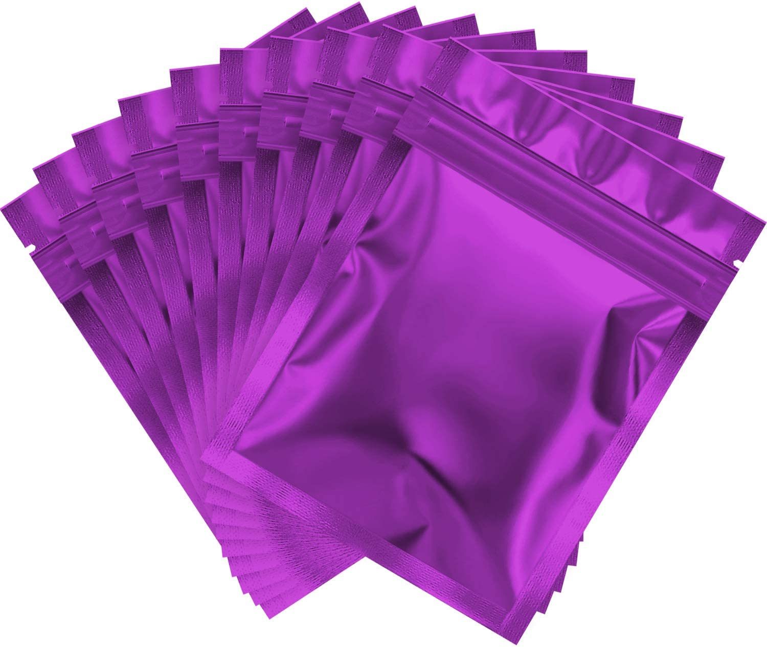 100 Pieces Smell Proof Bags Holographic Packaging Bags Storage Bag for Food Storage (Purple,3 x 4 Inch)