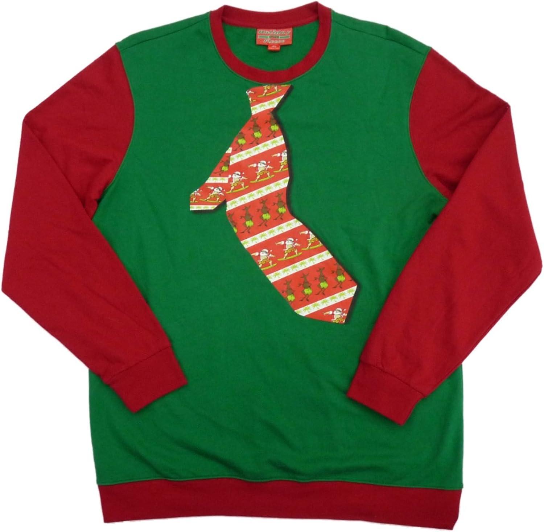 Holiday Fleece Mens Green & Red Big & Tall Xmas Tie Christmas Sweatshirt