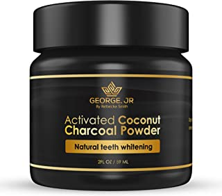 George Jr Beauty Activated Charcoal Teeth Whitening - Organic Coconut Charcoal - Freshens Breath - Remineralising Tooth Powder - Anti-Bacterial - By Sweden
