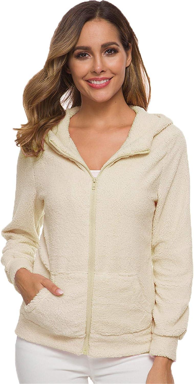 Andongnywell Women Fleece Fuzzy Jackets Long Sleeve Faux Casual Zipper Up Coat with Pocket Overcoats