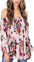 Women's Floral Off The Shoulder Tops Summer Casual Shirt Blouse Long Bell Sleeve