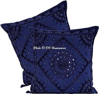 DK Homewares Indian Ethnique bohème Miroir Brodé Bleu foncé 60 x 60 cm Housse de Coussin Coton Salon Carré Géométrique Flo...