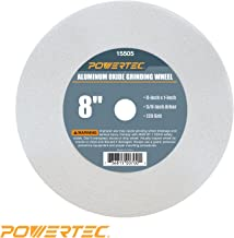 POWERTEC 15505 White Aluminum Oxide Grinding Wheel, 8-Inch by 1-Inch, 5/8-Inch Arbor, 120 Grit