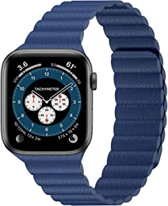 INI Compatible with Apple Watch Band 40mm 38mm - Enhanced Adjustable Leather Strap with Magnetic Closure System for iWatch Series SE/6/5/4/3/2/1 - Navy