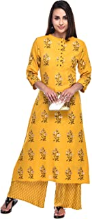 Pistaa's Women Viscose Floral Gold Printed Salwar suits Set