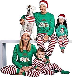 Pijamas Navidad Familia Conjunto Pijama Striped Navideñas Papa Noel de Reno Niños Hombre Mujer Niña Chica Chico Ropa de Noche Homewear para Toda La Familia Sudadera Chándal Suéter de Navidad Verde