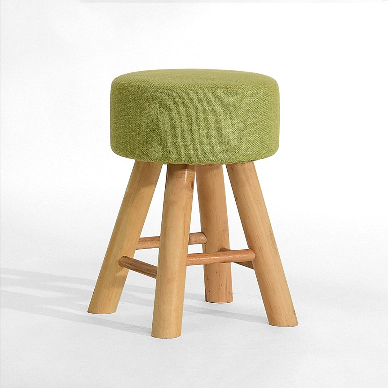 A-Fort Creative Stool Solid Wood Dining Stool Square Stool Fabric Dressing Stool (color   A)