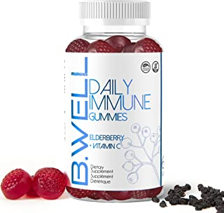 B.Well Supplement Elderberry 100mg + Vitamin C Gummies   Daily Immune   30 Days, 60 Gummies   Vegan Friendly & Gluten Free  