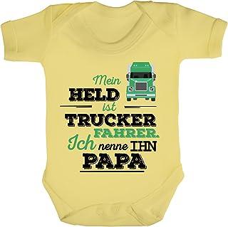 ShirtStreet Geschenk zum Vatertag LKW Fahrer Strampler Bio Baumwoll Baby Body kurzarm Jungen Mädchen Papa - Mein Held ist Trucker Fahrer