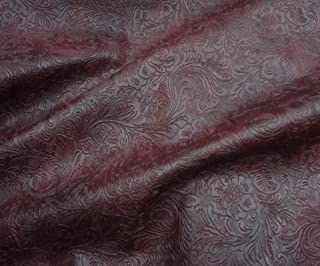 LUVFABRICS Wine Western Embossed Floral Faux Leather Vinyl Upholstery Fabric Per Yard Shipped Rolled