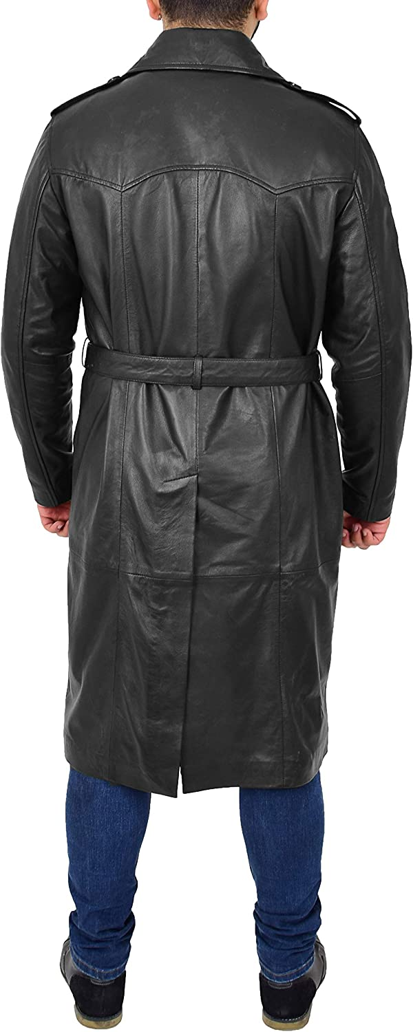 A1 FASHION GOODS Mens Trench Leather Coat 3/4 Long Black Jacket Double Breasted Reefer Overcoat Sherlock