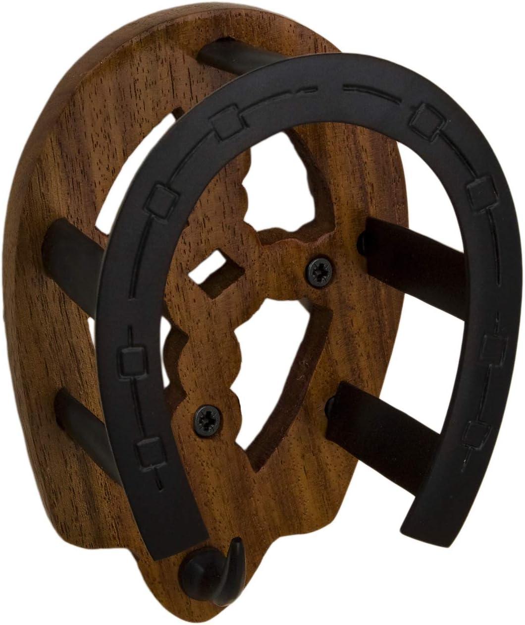 Tack Room Studio Brass Horseshoe Bridle Rack (Black & Wood) : Pet Supplies