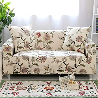 Umineux Printed Sofa Cover High Stretch Sofa Slipcovers Couch All Cover Furniture Protector for 3 Cushion Couch with Two Pillow Covers (Sofa-3 Seater, Blooming Flower)