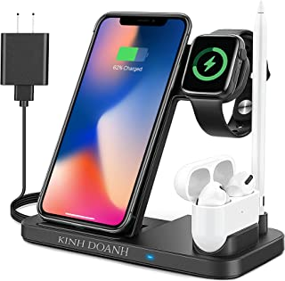 KINH DOANH Wireless Charger, 4 in 1 Qi-Certified Wireless Charging Station with Adapter for iphone 12, iphone 11, Wireless...