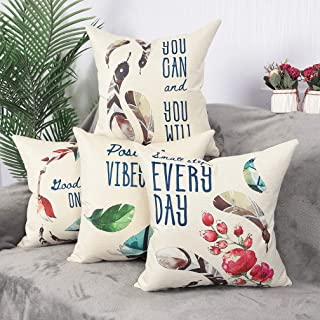 YINNAZI Feather Pattern Cushion Cover Flower Printed Decorative Throw Pillow Case Square Pillowcase for Couch 18 x 18 Inch Set of 4