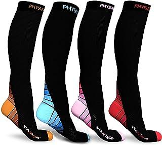Physix Gear Sport 4 Pairs of Compression Socks for Men & Women in (Black/Orange+ Black/Blue + Black/Pink + Black/Red) S/M ...