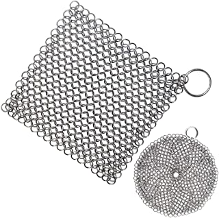 Senpulism Cast Iron Cleaner, Durable 316L Stainless Steel Chainmail Scrubber, Anti-rust Chain Cleaner for Pan Pot Dutch Oven, Big Square Skillet Steel Scrubber + Small Round Cast Iron Cleaning