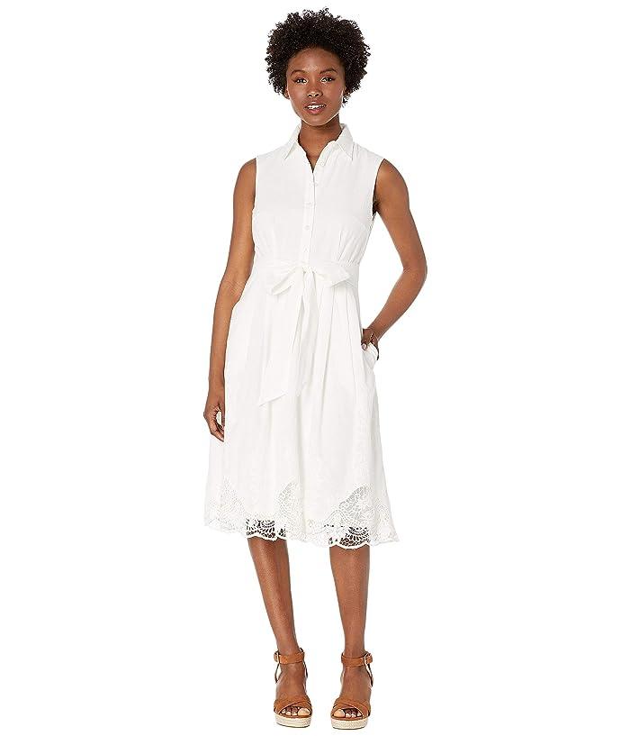 Tahari by ASL Petite Sleeveless Button Front Shirtdress w/ Embroidery (White) Women