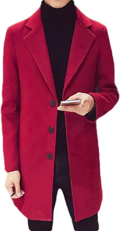 Men's Fashion Solid Lapel Single Breasted Slim Wool Blend Pea Coat