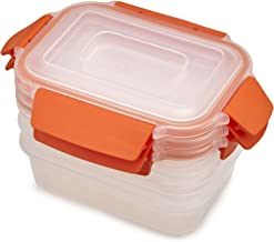 Joseph Joseph Nest Lock Plastic Food Storage Container Set with Lockable Airtight Leakproof Lids 6-Piece, 18 Ounces, Orange