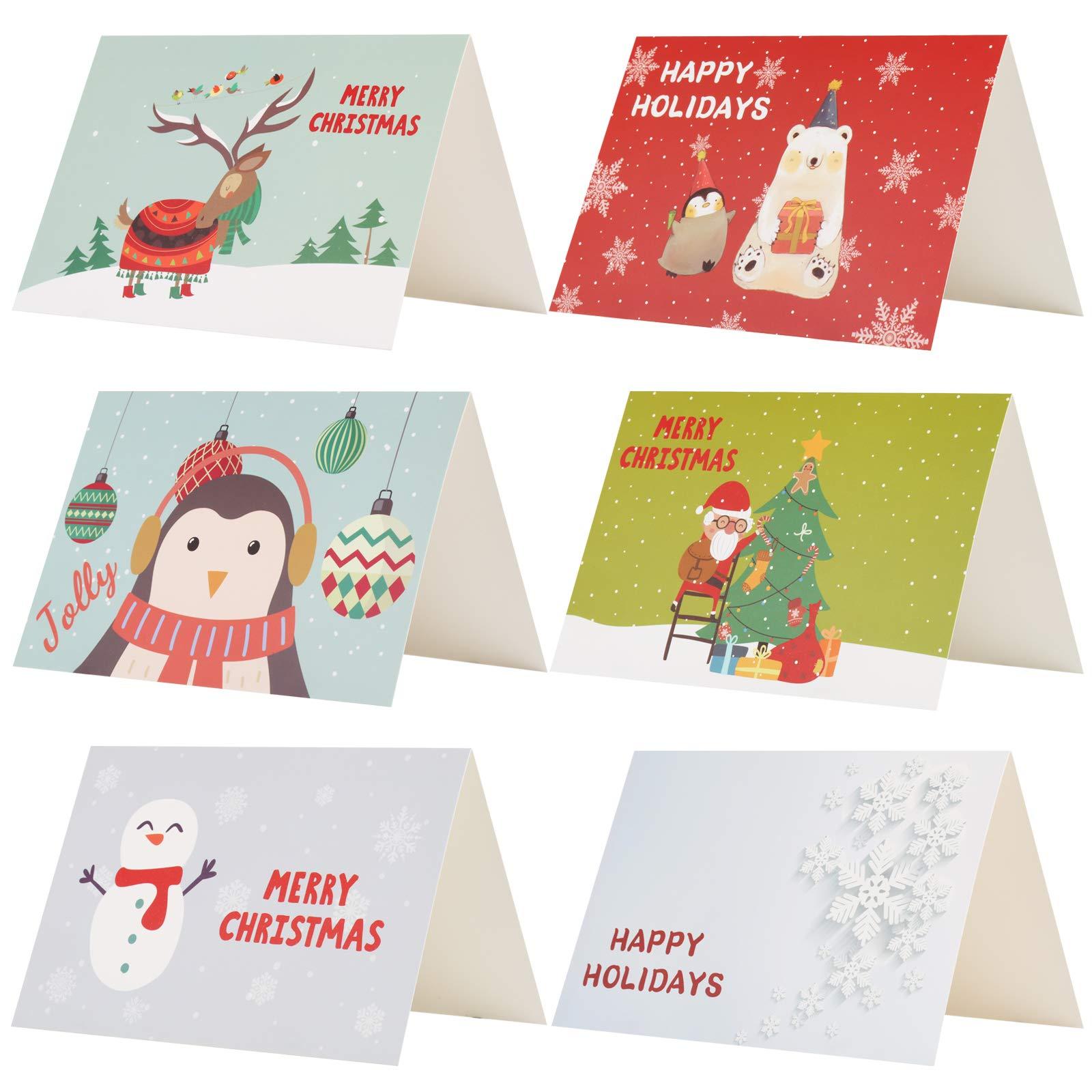 Kesote 24 Piezas de Tarjetas de Navidad de 6 Modelos con Diseños de Flores 24 Tarjetas + 24 Pegatinas Navideñas + 24 Sobres: Amazon.es: Oficina y papelería