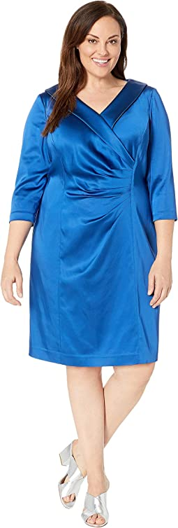 Plus Size Stretch Satin Cocktail Dress with Wide Neckline and Side Drape Detail