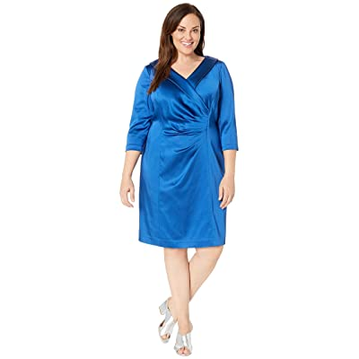 Tahari by ASL Plus Size Stretch Satin Cocktail Dress with Wide Neckline and Side Drape Detail (Cerulean Blue) Women