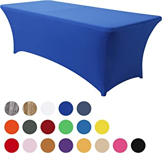 Obstal 6ft Stretch Spandex Table Cover for Standard Folding Tables - Universal Rectangular Fitted Tablecloth Protector for Party (Royal Blue, 72 Length x 30 Width x 30 Height Inches)