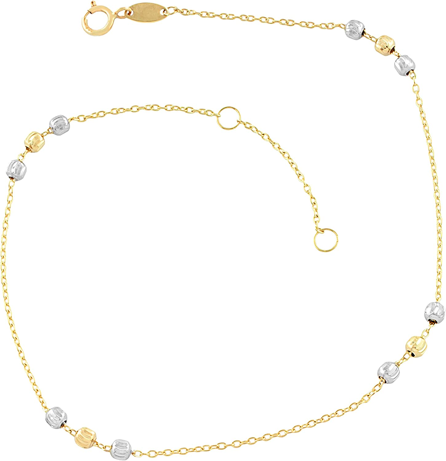 Kooljewelry 10k Two-Tone Gold Bead Max 79% Ranking TOP6 OFF Station or Anklet 10 fits 9