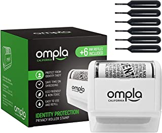 Ompla Identity Theft Data Protection Roller Stamp - Includes 6 Ink Refills