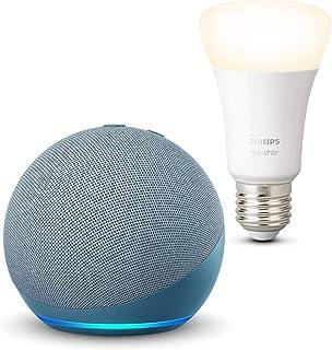 Echo Dot (4ª generazione), Ceruleo + Philips Hue White Lampadina Connessa (E27), compatibile con Alexa