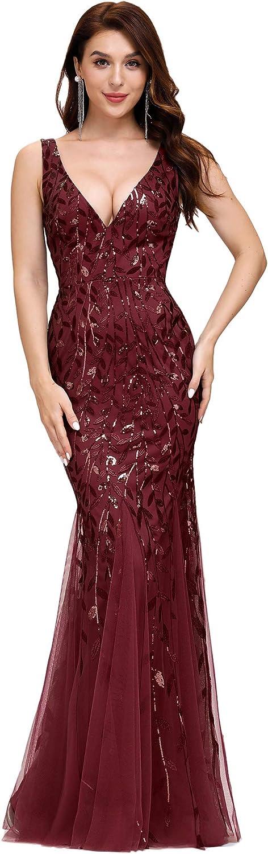 Alisapan Womens Mermaid Prom Dresses V-Neck Sequin Formal Evening Gonws 7886
