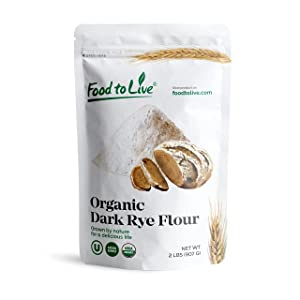 Organic Dark Rye Flour by Food to Live (Whole Grain, Non-GMO, Stone Ground, Kosher, Raw, Vegan, Bulk, Great for Baking Bread, Product of the USA) — 2 Pounds