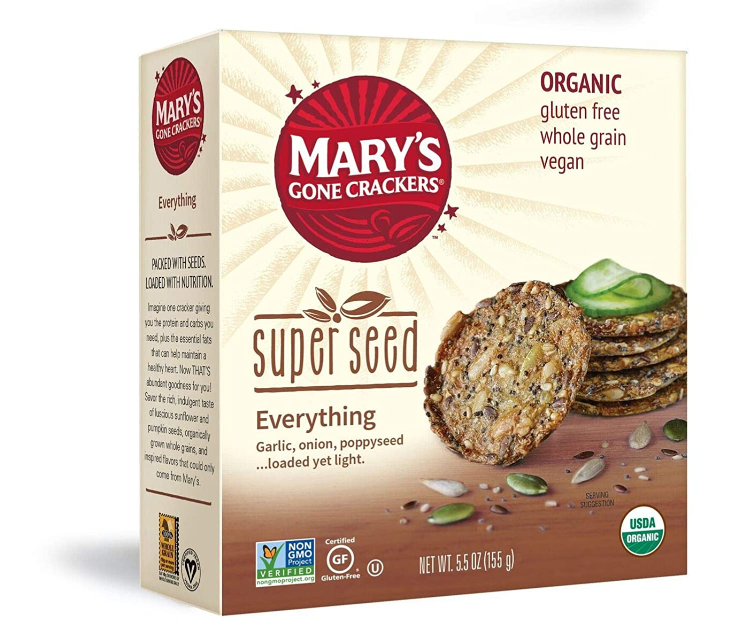 Mary's Gone Crackers Super Seed Crackers, 5g of Organic Plant Based Protein, Gluten Free, Everything, 5.5 Ounce (Pack of 1)