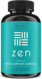 Zen Anxiety and Stress Relief Supplement - Premium Herbal Formula Supporting Calm, Positive Mood with Ashwagandha, L-Thean...