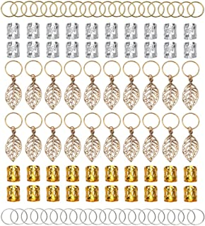 Fani 100pcs Gold &Silver Hair Rings Aluminum Dreadlocks Beads Gold Leaves Pendant Decorations Metal Cuffs Braid Jewelry for Hair Set Hair Clip Hair Accessories