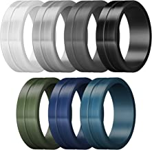 ThunderFit Men's Silicone Rings 7 Rings / 4 Rings / 1 Ring - Brushed Top Beveled Edges Rubber Wedding Bands