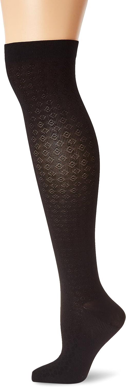 Activa Womans 15-20 mmHg Diamond Pattern Dress Trouser Socks, Black, X-Large