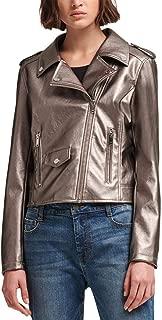 DKNY Womens Winter Metallic Motorcycle Jacket