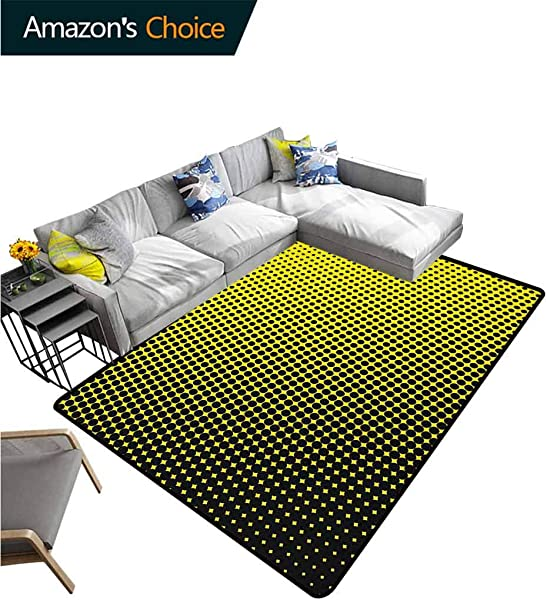 Yellow Heavy Duty Area Rug Hearts Ombre Pattern In Yellow Background With Black Dots From Big To Small Artwork Fashionable High Class Living Dinning Room 2 5 X 9 Yellow And Black