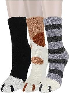 Girls Womens Fuzzy Slipper Floor Socks Novelty Cute Funny 3D Cartoon Animal Soft Fluffy Carol Velvet Indoor Warm Crew Socks