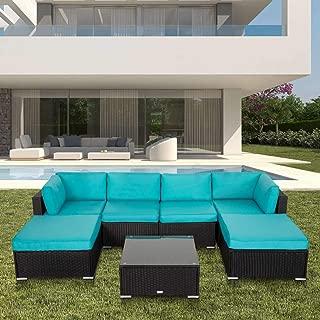 Kinbor 7PC Outdoor Sectional Sofa Set Rattan All-Weather Wicker Patio Furniture Sofa W/Cushions & Modern Coffee Table Glass Top, Blue