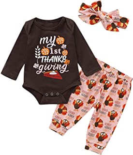 TrulyBee 3PCS Baby Girl Thanksgiving Outfits My 1st Turkey Day Pant Set