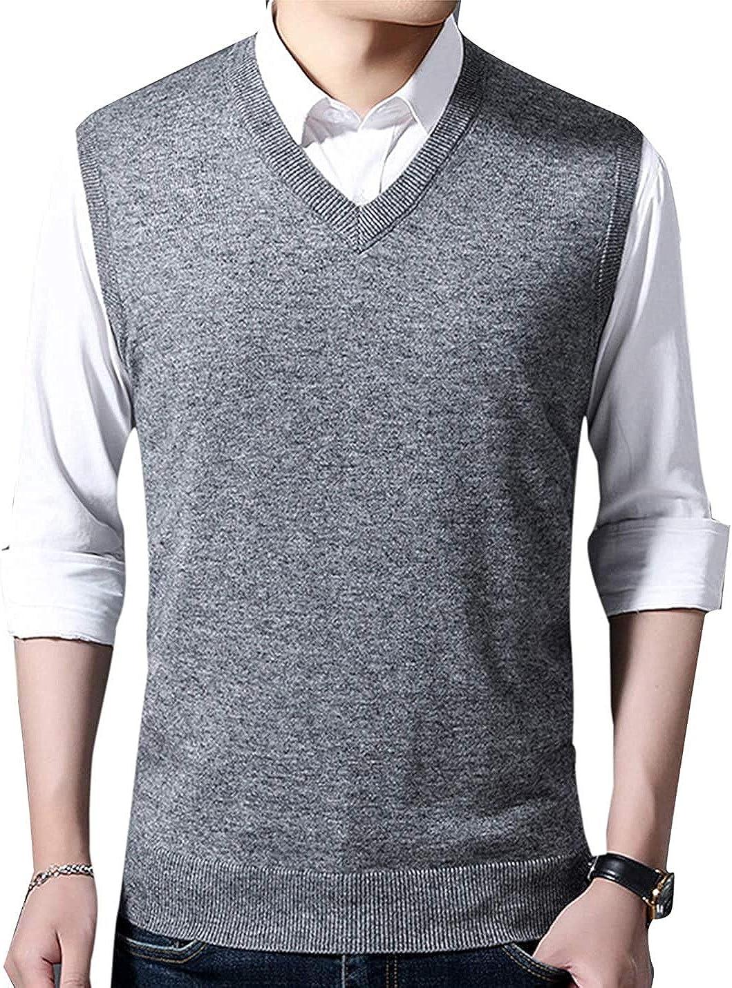 PAODIKUAI Mens V Neck Sweater Vest Cashmere Wool Blend Knit Sleeveless Sweater Pullover