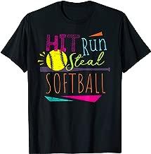 Cool 80's Hit Run Steal Softball Girls Summer Sports Shirt