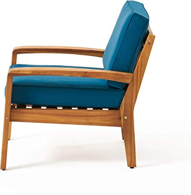 Christopher Knight Home 311472 Heidi Outdoor Club Chairs with Cushions (Set of 4), Teak Finish, Dark Teal