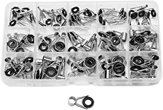 VGEBY 75 Pcs Various Sizes Fishing Rod Guides Tip Rings Stainless Steel Repair Kit with Case